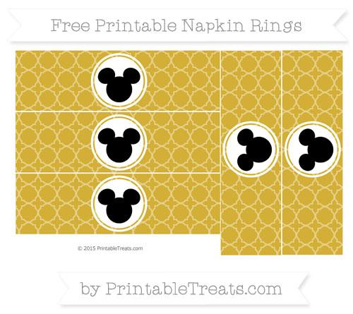 Free Metallic Gold Quatrefoil Pattern Mickey Mouse Napkin Rings