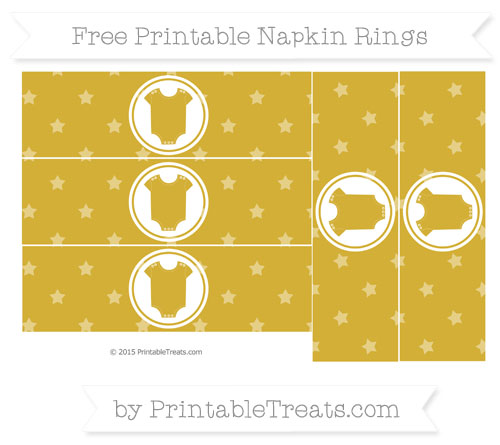 Free Metallic Gold Star Pattern Baby Onesie Napkin Rings