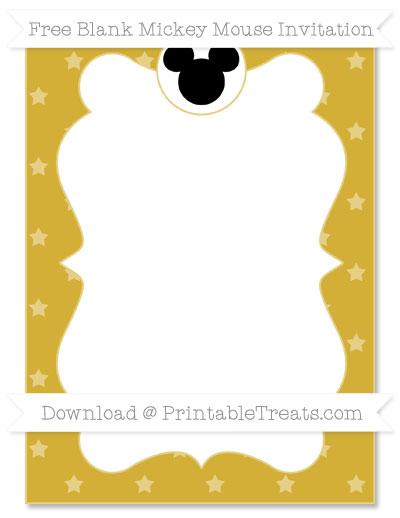 Free Metallic Gold Star Pattern Blank Mickey Mouse Invitation