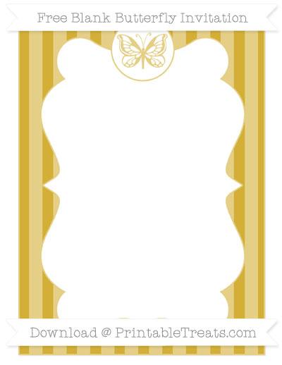 Free Metallic Gold Striped Blank Butterfly Invitation