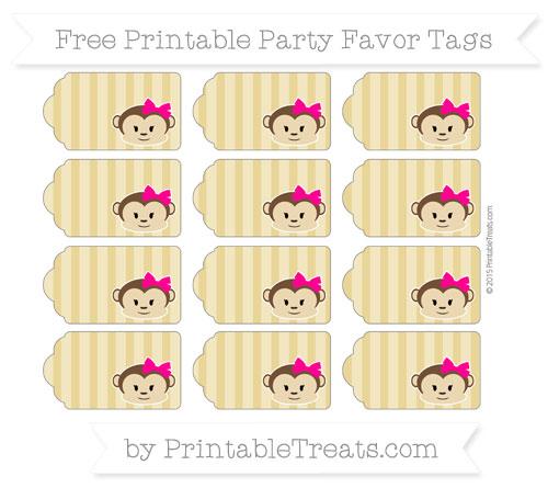 Free Metallic Gold Striped Girl Monkey Party Favor Tags
