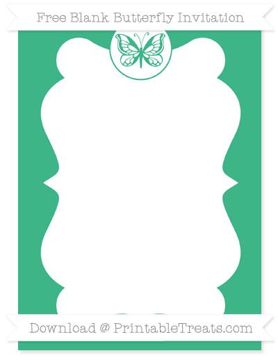 Free Mint Green Blank Butterfly Invitation