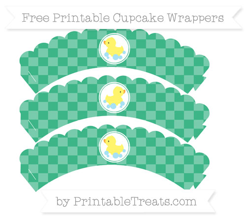 Free Mint Green Checker Pattern Baby Duck Scalloped Cupcake Wrappers