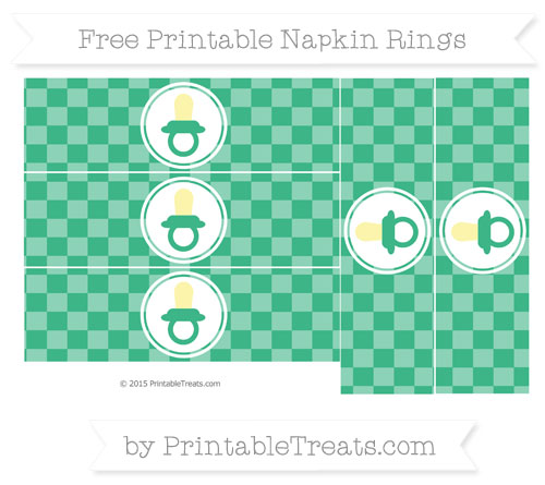 Free Mint Green Checker Pattern Baby Pacifier Napkin Rings