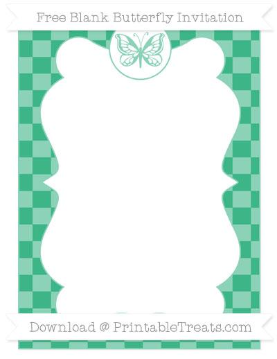 Free Mint Green Checker Pattern Blank Butterfly Invitation