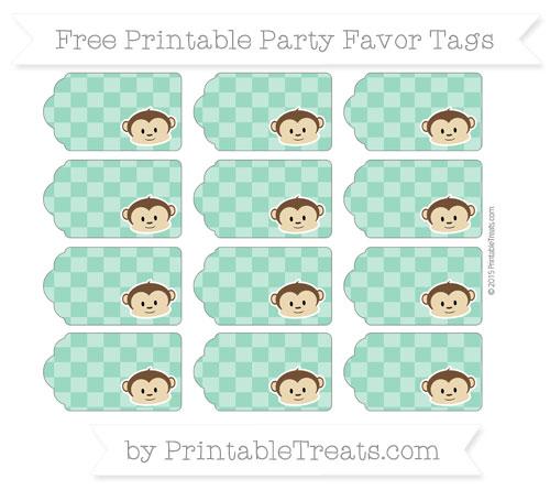 Free Mint Green Checker Pattern Boy Monkey Party Favor Tags