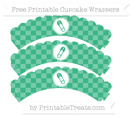 Free Mint Green Checker Pattern Diaper Pin Scalloped Cupcake Wrappers