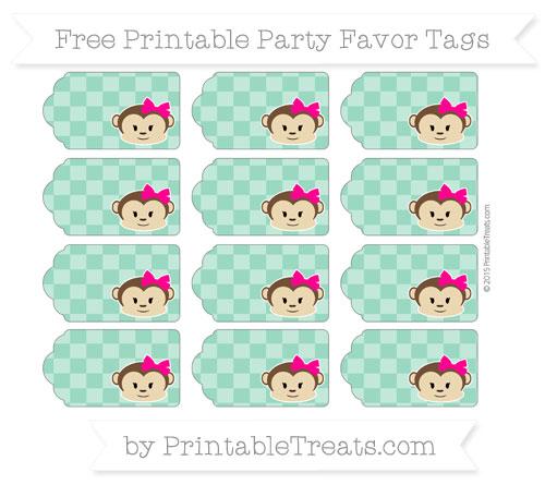 Free Mint Green Checker Pattern Girl Monkey Party Favor Tags