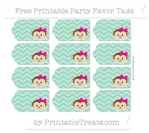 Free Mint Green Chevron Girl Monkey Party Favor Tags