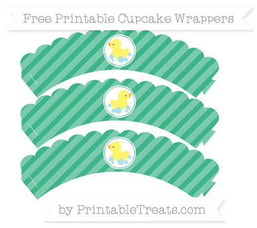 Free Mint Green Diagonal Striped Baby Duck Scalloped Cupcake Wrappers