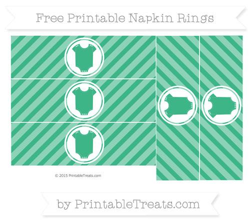 Free Mint Green Diagonal Striped Baby Onesie Napkin Rings