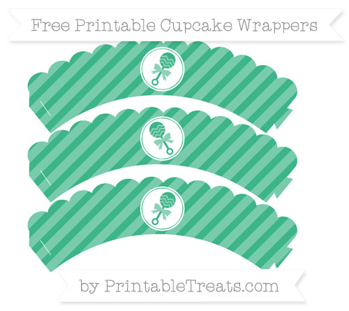 Free Mint Green Diagonal Striped Baby Rattle Scalloped Cupcake Wrappers