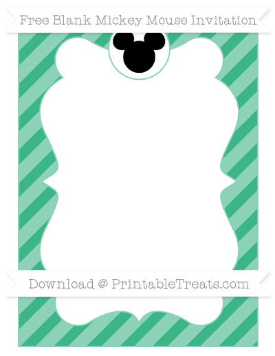 Free Mint Green Diagonal Striped Blank Mickey Mouse Invitation