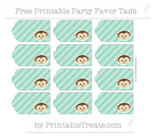 Free Mint Green Diagonal Striped Boy Monkey Party Favor Tags
