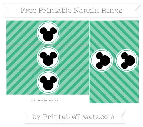 Free Mint Green Diagonal Striped Mickey Mouse Napkin Rings