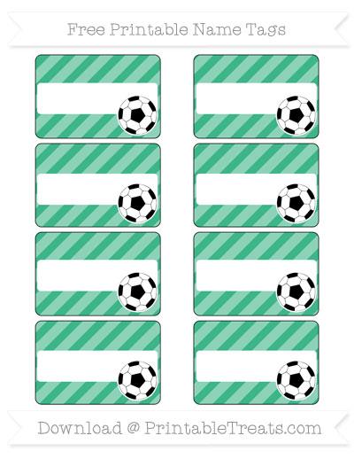 Free Mint Green Diagonal Striped Soccer Name Tags