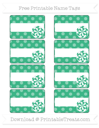Free Mint Green Dotted Pattern Cheer Pom Pom Tags