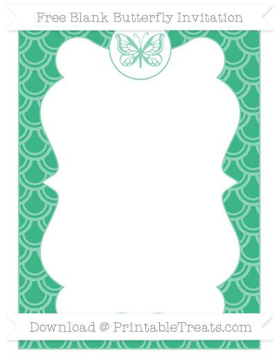 Free Mint Green Fish Scale Pattern Blank Butterfly Invitation