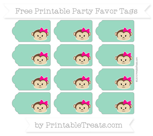 Free Mint Green Girl Monkey Party Favor Tags