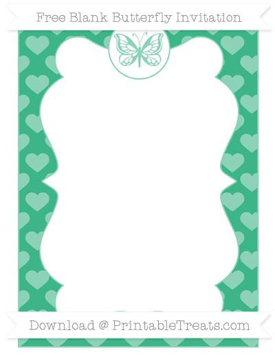 Free Mint Green Heart Pattern Blank Butterfly Invitation