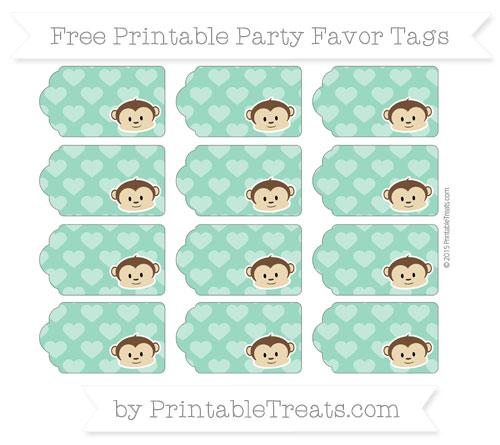 Free Mint Green Heart Pattern Boy Monkey Party Favor Tags