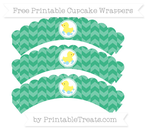 Free Mint Green Herringbone Pattern Baby Duck Scalloped Cupcake Wrappers