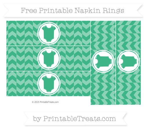 Free Mint Green Herringbone Pattern Baby Onesie Napkin Rings