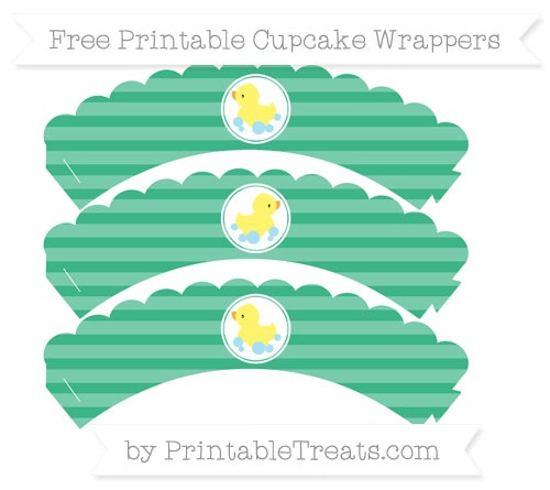Free Mint Green Horizontal Striped Baby Duck Scalloped Cupcake Wrappers