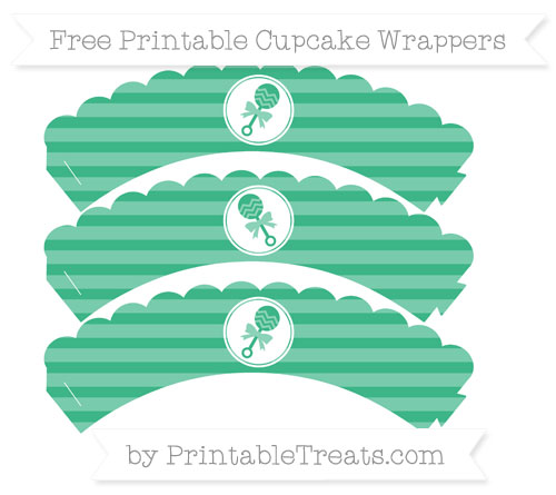 Free Mint Green Horizontal Striped Baby Rattle Scalloped Cupcake Wrappers