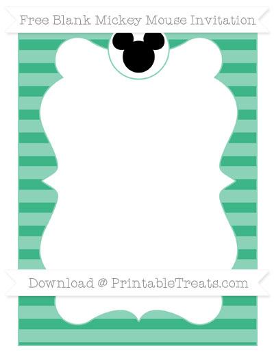 Free Mint Green Horizontal Striped Blank Mickey Mouse Invitation