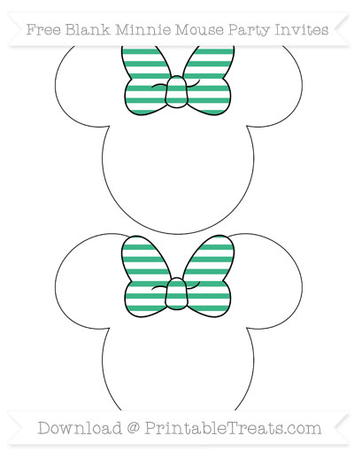 Free Mint Green Horizontal Striped Blank Minnie Mouse Party Invites