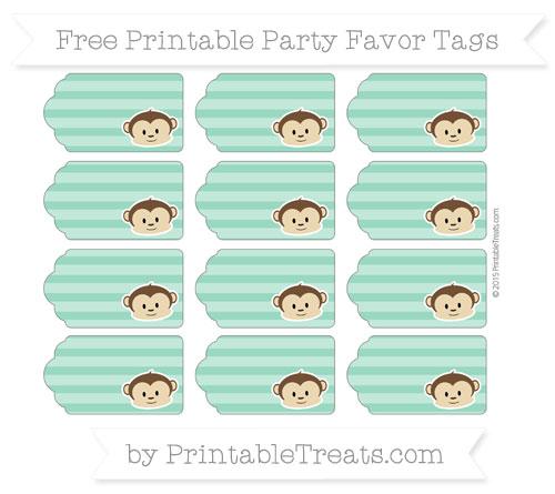Free Mint Green Horizontal Striped Boy Monkey Party Favor Tags
