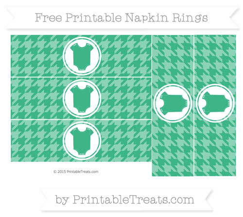 Free Mint Green Houndstooth Pattern Baby Onesie Napkin Rings