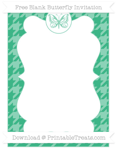 Free Mint Green Houndstooth Pattern Blank Butterfly Invitation