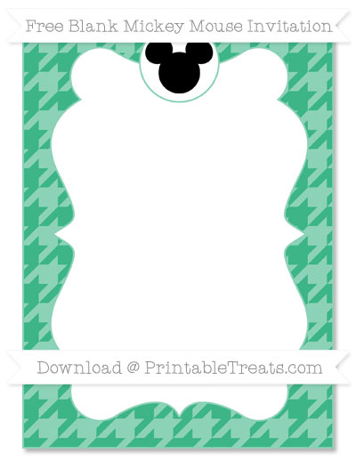 Free Mint Green Houndstooth Pattern Blank Mickey Mouse Invitation