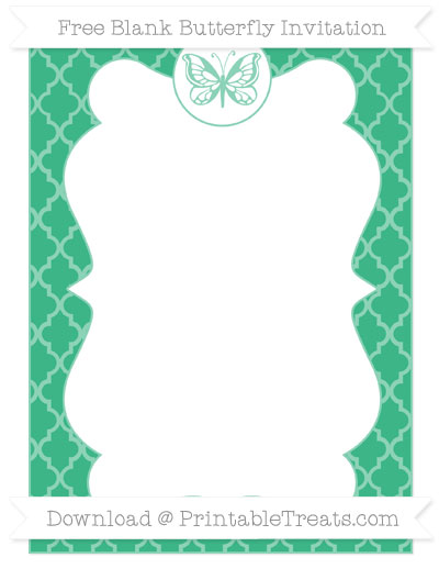 Free Mint Green Moroccan Tile Blank Butterfly Invitation