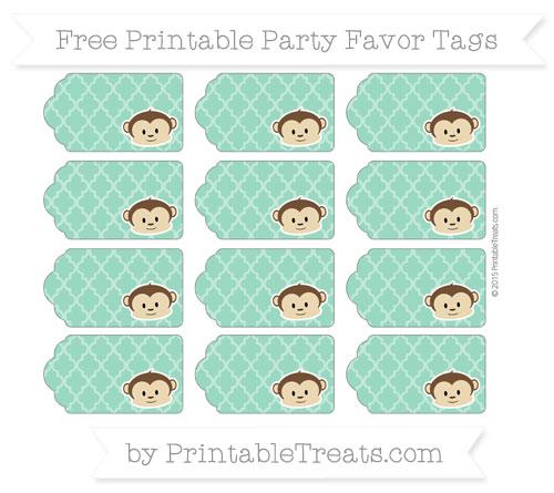 Free Mint Green Moroccan Tile Boy Monkey Party Favor Tags