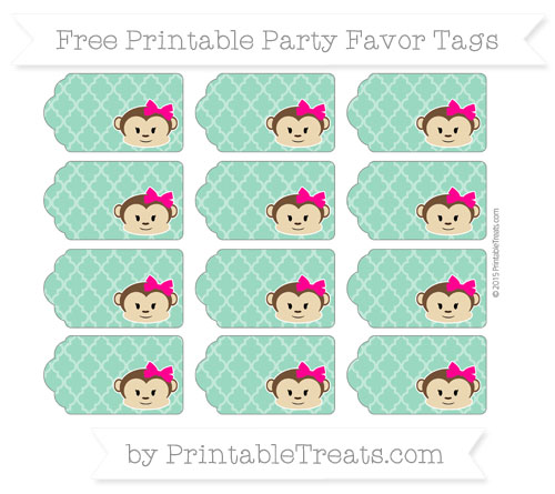 Free Mint Green Moroccan Tile Girl Monkey Party Favor Tags