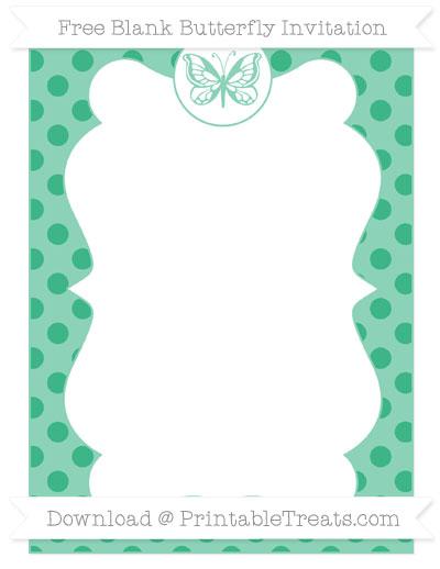 Free Mint Green Polka Dot Blank Butterfly Invitation