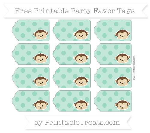 Free Mint Green Polka Dot Boy Monkey Party Favor Tags
