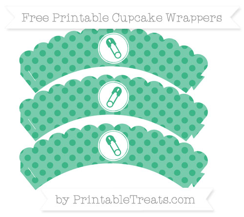 Free Mint Green Polka Dot Diaper Pin Scalloped Cupcake Wrappers