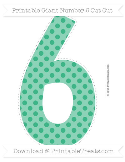 Free Mint Green Polka Dot Giant Number 6 Cut Out