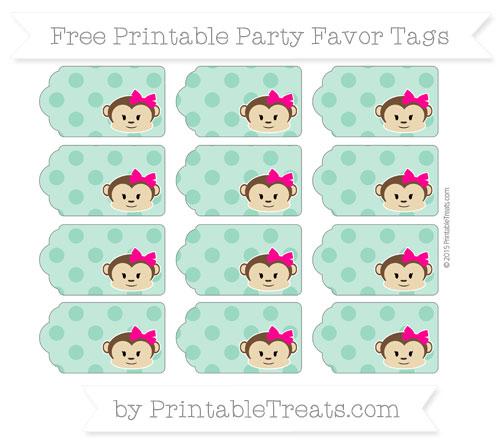 Free Mint Green Polka Dot Girl Monkey Party Favor Tags