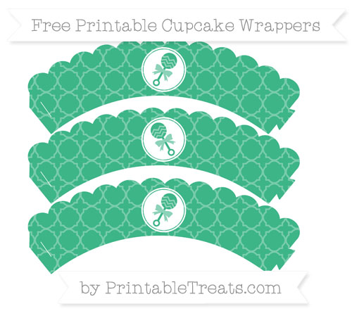 Free Mint Green Quatrefoil Pattern Baby Rattle Scalloped Cupcake Wrappers