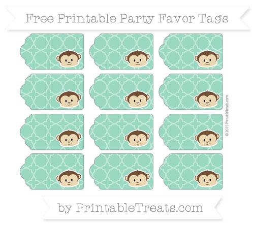 Free Mint Green Quatrefoil Pattern Boy Monkey Party Favor Tags