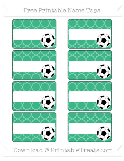 Free Mint Green Quatrefoil Pattern Soccer Name Tags