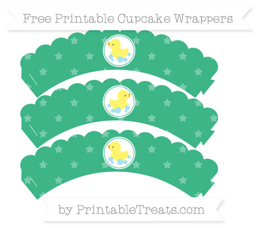 Free Mint Green Star Pattern Baby Duck Scalloped Cupcake Wrappers
