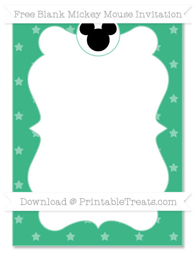 Free Mint Green Star Pattern Blank Mickey Mouse Invitation