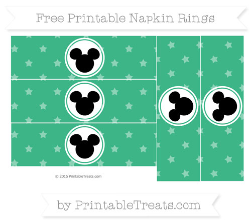 Free Mint Green Star Pattern Mickey Mouse Napkin Rings