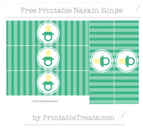 Free Mint Green Striped Baby Pacifier Napkin Rings